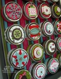 advent calendar with tins and a cookie sheet and a few magnets....