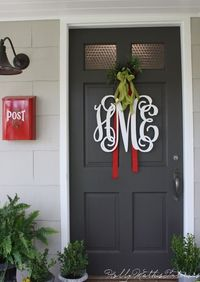 Pretty Monogram letters- just add some more ribbon and a burlap bow for that special touch!