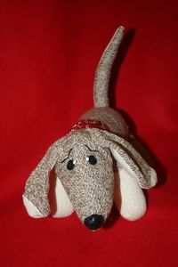 Handcrafted Sock Monkey Doxie by SockMonkeyFarm