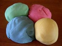 make your own playdough! MICROWAVE PLAYDOUGH 1 c. flour 1 c. water 1/2 c. salt 2 tsp. cream of tartar 1 tbsp. cooking oil Food coloring or 1 pkg Koolaid mix Mix all ingredients, except food color. Put in microwave on high for 1 minute. Stir. Cook on high ...
