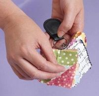 "Carry Fabric Swatches with You -- ""Use pinking shears to cut fabric swatches of quilts in progress, then attach the swatches to a key ring with safety pins. Keep the key ring with you for unplanned trips to the fabric store. It's easy to add or ..."