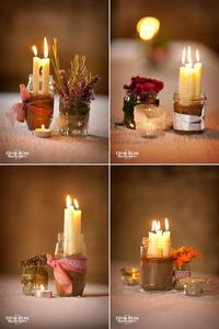 Rustic candles and flowers