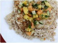 grilled fish with toasted coconut couscous and spicy melon salad