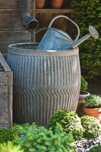 Cool galvanized rain barrel.