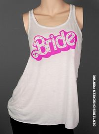 Barbie Bride Bridesmaid Scoop Neck Tank racerback Hot Pink rhinestones bling Bachelorette Party Girls Night out Trip to the Beach Romper