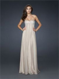 Strapless Sweetheart with Beadings Floor Length A-line Chiffon Prom Dress