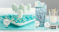 white and aqua blue color palette for a dessert buffet table