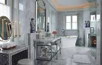 Beautiful Carrara marble bath in the Glenmere Mansion (c. 1911) | Scott Snyder | Architectural Digest,