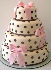 chocolate polka dots and pale pink sugar bows wedding cake