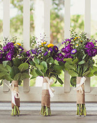 bouquets with greenery and wildflowers