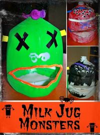 Milk Jug Monsters - Spooky Craft for Kids