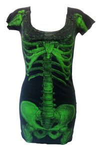 Kreepsville 666 Skeleton Tunic Green | Gothic Clothing | Emo clothing | Alternative clothing | Punk clothing - Chaotic Clothing