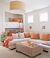 Lounging in these nooks in the wall would be so fun while watching a movie or reading a book. Loving the colors as well.