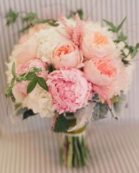 Peony, English Rose, Astilbe Bouquet Designer: April Flowers Flowers: Astilbe | Hydrangea | Peony | Rose Other: Dusty Miller | Sweet Pea Vines Colors: Pink Photographer: Beaux Arts Photographie Source |