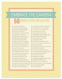 Mothers day photo checklist