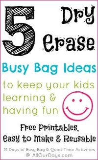 5 Dry Erase Busy Bag Ideas (Day 20) 31 Days of Busy Bags & Quiet Time Activities