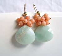 peach and mint earrings