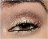 For eyes, start by applying Smudgeproof as your eyeshadow base all over the eye area with the 249. Using the 239, apply Dalliance eyeshadow all over the lid. Lightly blend Centre Stage eyeshadow into the crease and blend into the outer corner with the 222...