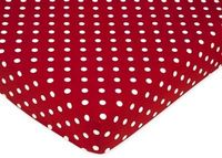 Red polka dot fitted crib sheet