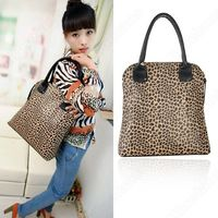 PU Leather Luxury Fashion Women Leopard Print Shoulder Handbag Bucket Purse Bag