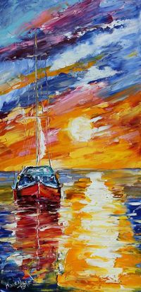 Original oil painting Sunset Sail Boat by Karensfineart