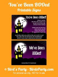 "Bird's Party Blog: FREE ""You've Been BOOed"" Printable Halloween Signs!"