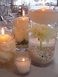 Flowers, Reception, White, Ceremony, Bridesmaids, Empora floral artistry, Centerpiece, candles, floating candles, rose, petals, glass cylinders