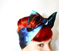 galexy hair wrap with bow