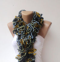 knitting ruffled scarf , women hand knitted multicolor ruffle scarf fall colors