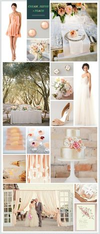 Cream, Blush + Peach wedding inspiration is the perfect blend of soft hues and modern romance. Imagine your big day beneath a canopy of trees with vintage place settings, an elegant gold cake