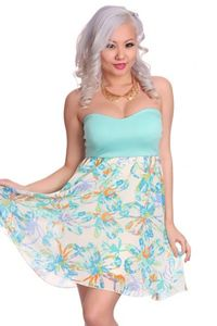 Aqua Multi Strapless Sweetheart Neckline Floral Print Cutout Back Sexy Party Dress