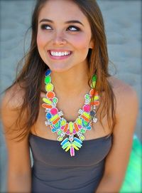 DIY: old prom-ish jewelry turned fab, painted with neon nail polish.