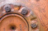 """991"" - Detail of an antique tractor wheel."