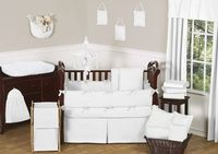 $189 Solid White Minky Dot Baby Bedding - 9pc Crib Set by JoJO Designs - Click to enlarge