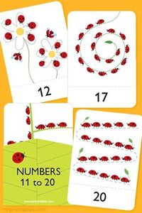 Ladybird number flash cards 11-20