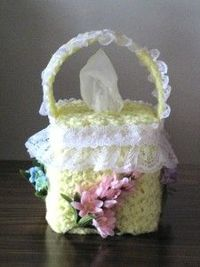 Lacy Flower Basket Tissue Box Cover - free crochet pattern