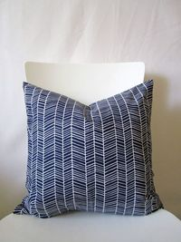 16 inch throw pillow cover, Herringbone navy blue and white.