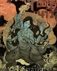 Interesting mix of comic, religious, street, asian themes.
