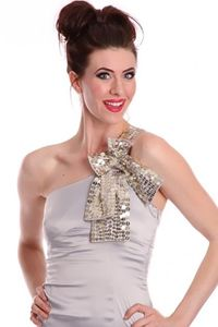 Grey One Shoulder Strap Sequin Detailing Bow Accent Chic Dress