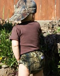 Camo diaper cover - so stinkin' cute.