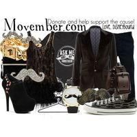 """""""Movember"""" by lalakay on Polyvore #movember #mustache #cancer"""