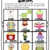 This is a preview to my roll the dice adjectives word work pack that will be coming soon. There is a page of colorful nouns and black and white, ba...
