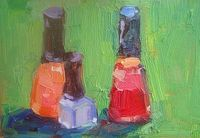 Nail Polish original 4 by 6 inch oil painting.