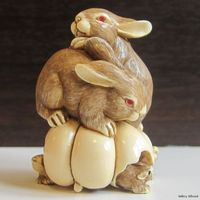 2 Rabbits 3 Mice with Pumpkin Japanese Netsuke