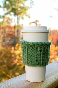 Coffee Sleeve in Alpaca Blend Pink Green or Blue by CharmingWhimsy, $10.00