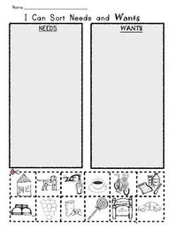 Printables Needs And Wants Worksheet i can sort needs and wants picture worksheet christmas xmas worksheet