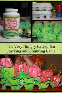 Using upcycled egg cartons for stacking to go along with The Very Hungry Caterpillar.
