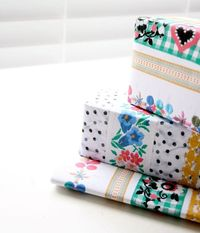how to make wrapping paper with your favourite ribbons/fabric etc. - by my poppet