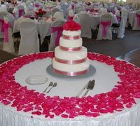 I like the circle of rose petals. it adds a pretty touch without taking away from the cake.