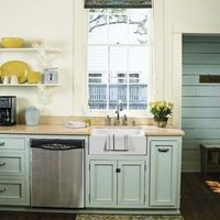 remodeled 1850s cottage kitchen with open shelves, off-white walls and pale green cabinets. green paint is SW' Rainwashed; the white paint is BM White Dove